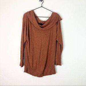 Heather Cowl Orange Rust Thin Knit Sweater